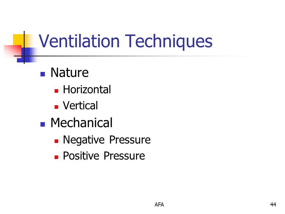 AFA44 Ventilation Techniques Nature Horizontal Vertical Mechanical Negative Pressure Positive Pressure