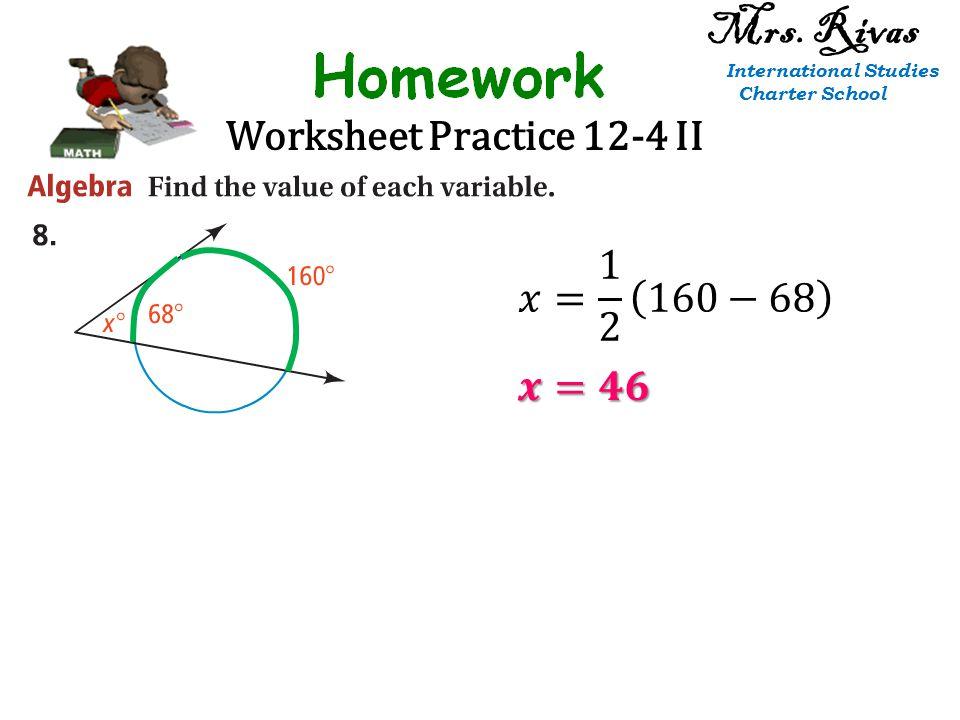Worksheet Practice 12-4 II Mrs. Rivas International Studies Charter School
