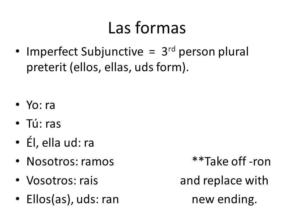 Las formas Imperfect Subjunctive = 3 rd person plural preterit (ellos, ellas, uds form).