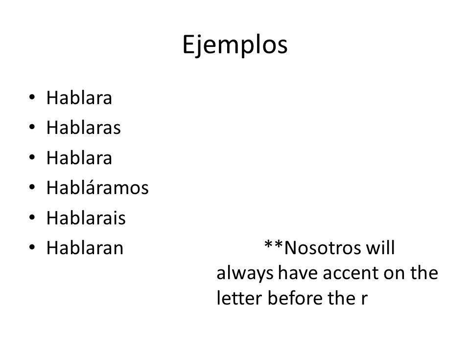 Ejemplos Hablara Hablaras Hablara Habláramos Hablarais Hablaran **Nosotros will always have accent on the letter before the r