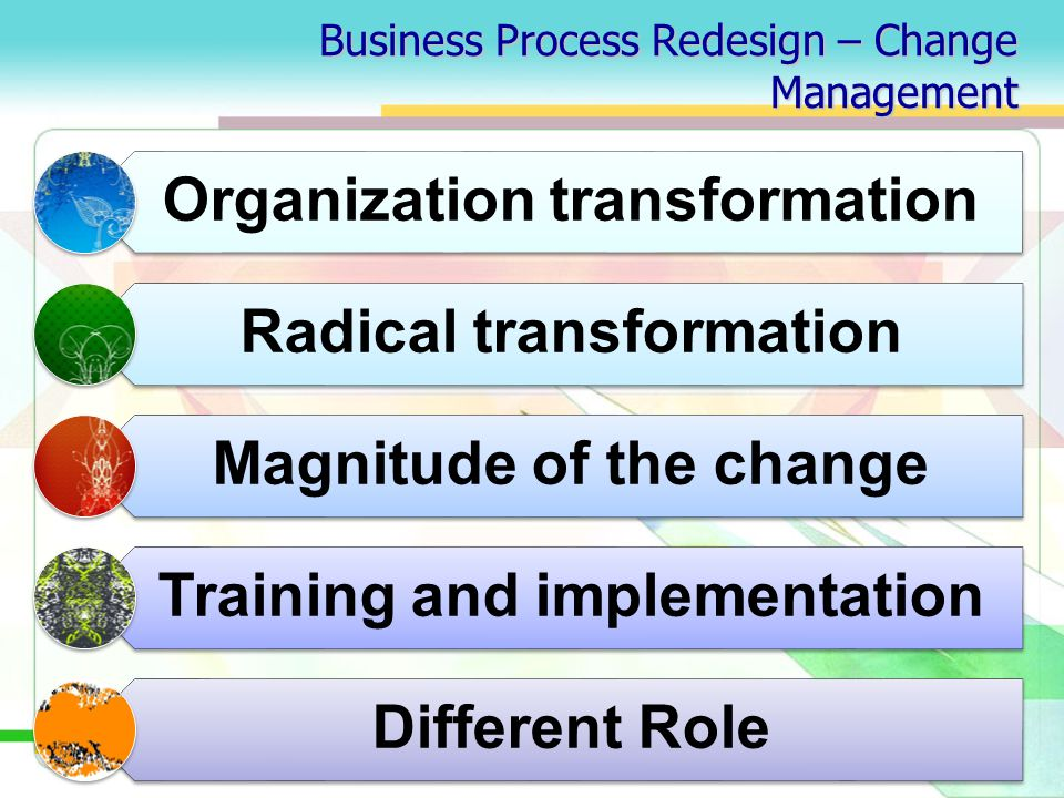 Business Process Redesign – Change Management Organization transformation Radical transformation Magnitude of the change Training and implementation Different Role
