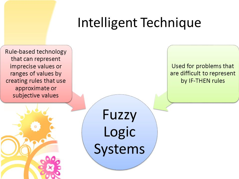 Intelligent Technique Fuzzy Logic Systems Rule-based technology that can represent imprecise values or ranges of values by creating rules that use approximate or subjective values Used for problems that are difficult to represent by IF-THEN rules