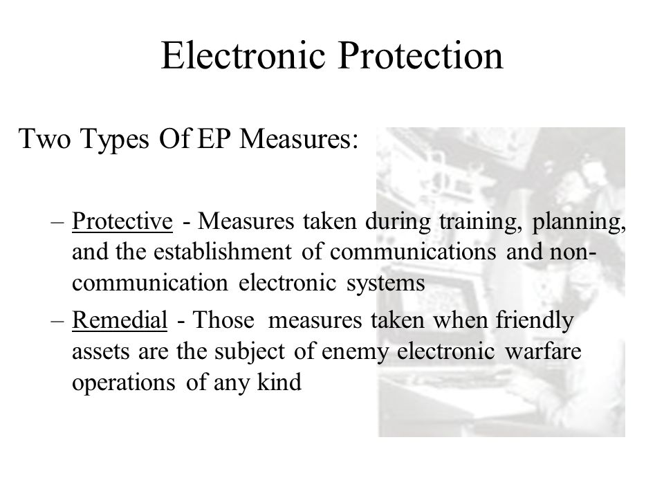 Electronic Support (ES) Tasked by or under the control of the operational commander Search for, locate, identify and intercept radiated energy Immediate threat recognition, targeting and avoidance