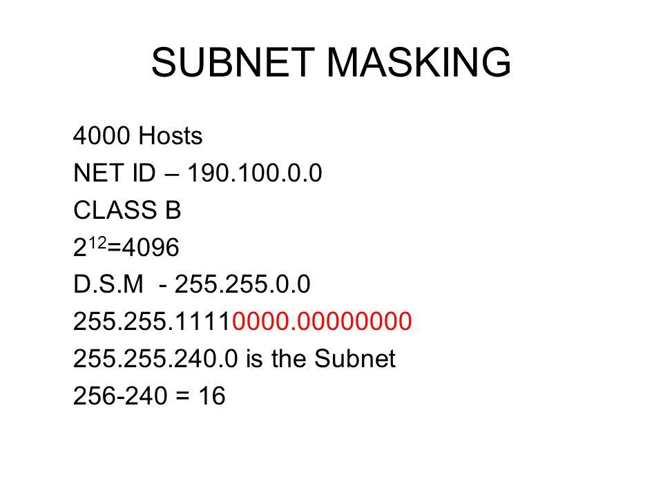 SUBNET MASKING 4000 Hosts NET ID – 190.100.0.0 CLASS B 2 12 =4096 D.S.M - 255.255.0.0 255.255.11110000.00000000 255.255.240.0 is the Subnet 256-240 =