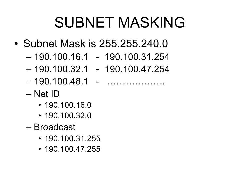 SUBNET MASKING Subnet Mask is 255.255.240.0 –190.100.16.1 - 190.100.31.254 –190.100.32.1 - 190.100.47.254 –190.100.48.1 - ………………. –Net ID 190.100.16.0