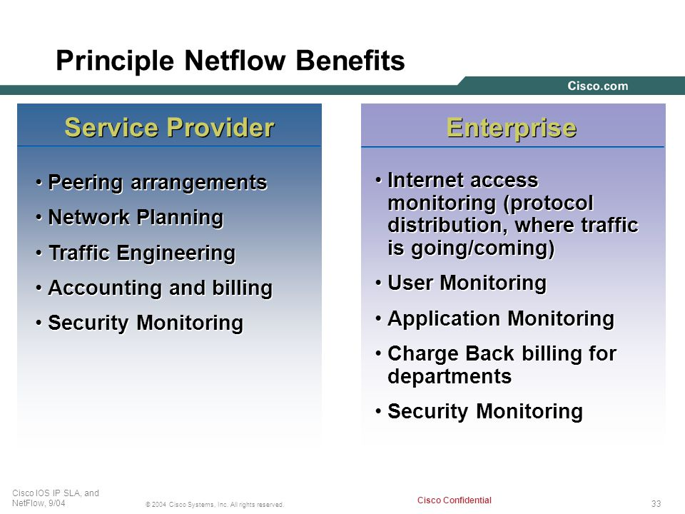 33 © 2004 Cisco Systems, Inc. All rights reserved. Cisco IOS IP SLA, and NetFlow, 9/04 Cisco Confidential Principle Netflow Benefits Service Provider