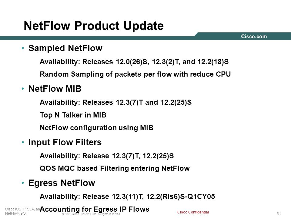 51 © 2004 Cisco Systems, Inc. All rights reserved. Cisco IOS IP SLA, and NetFlow, 9/04 Cisco Confidential Sampled NetFlow Availability: Releases 12.0(