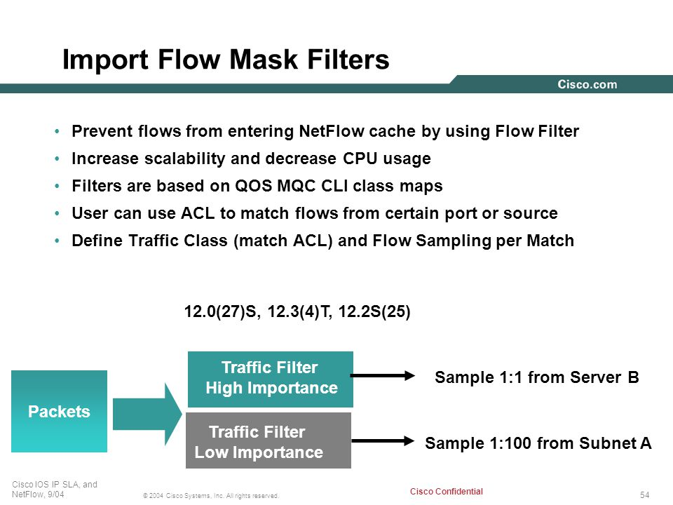 54 © 2004 Cisco Systems, Inc. All rights reserved. Cisco IOS IP SLA, and NetFlow, 9/04 Cisco Confidential Import Flow Mask Filters Prevent flows from