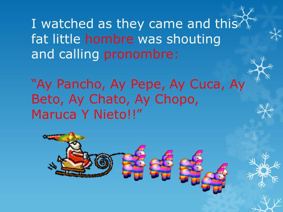 I watched as they came and this fat little hombre was shouting and calling pronombre: Ay Pancho, Ay Pepe, Ay Cuca, Ay Beto, Ay Chato, Ay Chopo, Maruca Y Nieto!!