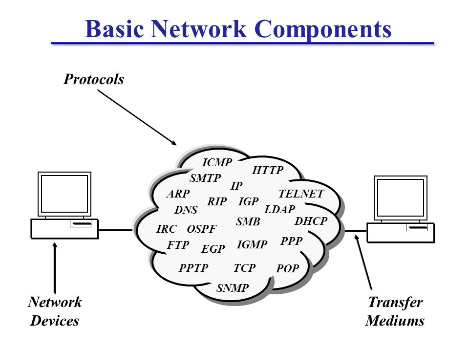 ARP DNS DHCP FTP HTTP ICMP LDAP OSPF PPP PPTP IRC RIP SNMP SMTP POP TELNET IP TCP IGMP EGP IGP SMB Network Devices Transfer Mediums Protocols Basic Network Components