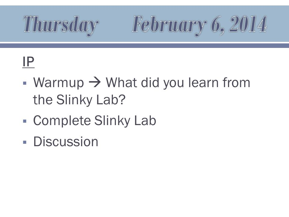 IP  Warmup  What did you learn from the Slinky Lab  Complete Slinky Lab  Discussion