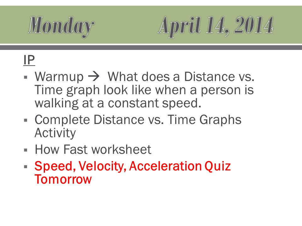 IP  Warmup  What does a Distance vs.