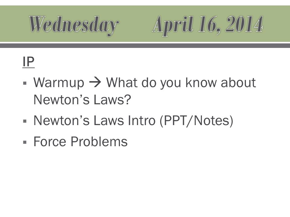 IP  Warmup  What do you know about Newton's Laws.