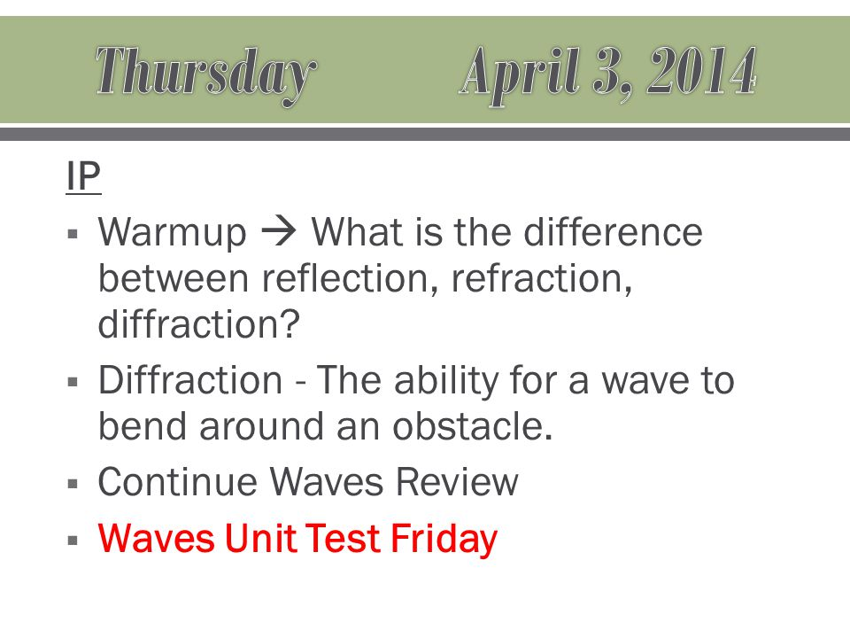 IP  Warmup  What is the difference between reflection, refraction, diffraction.