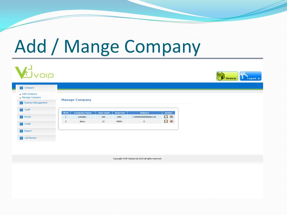 Add / Mange Company