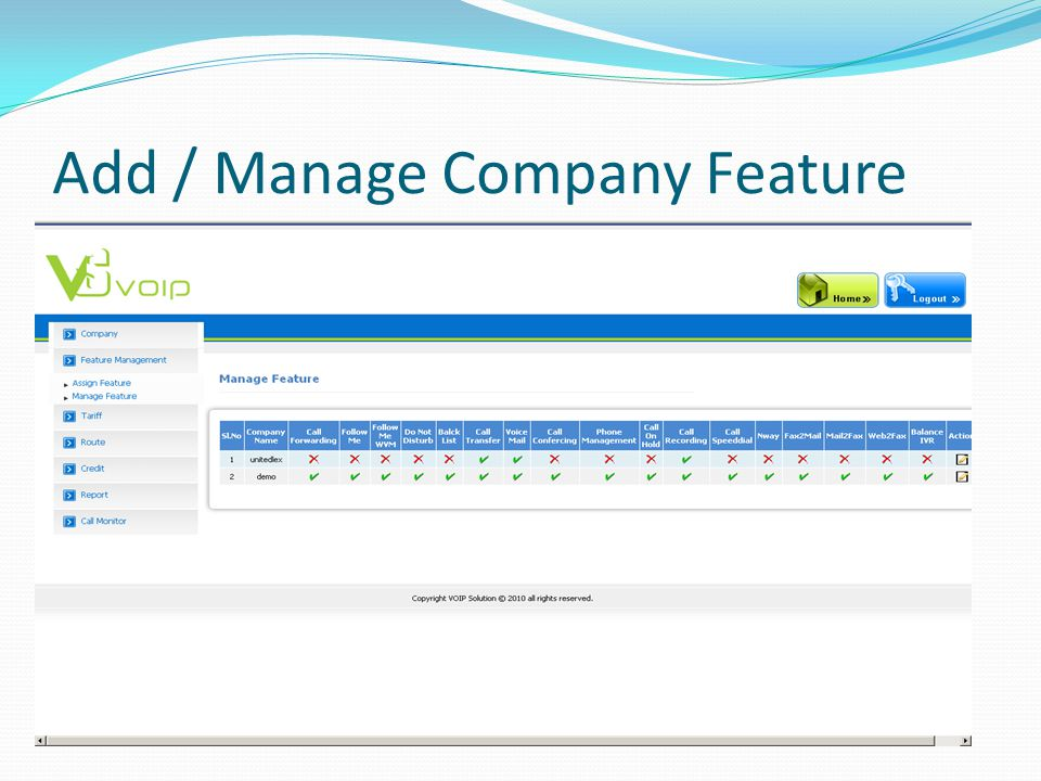 Add / Manage Company Feature