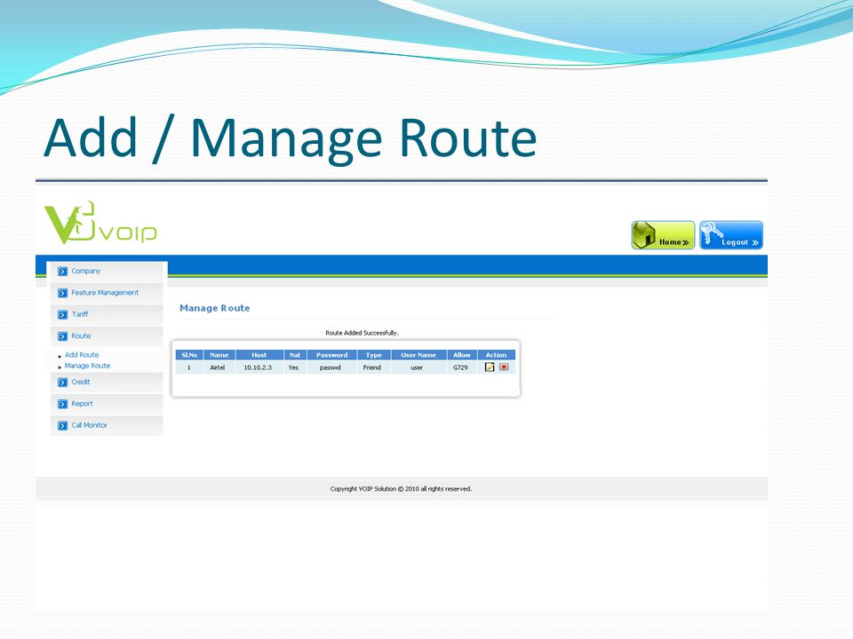 Add / Manage Route