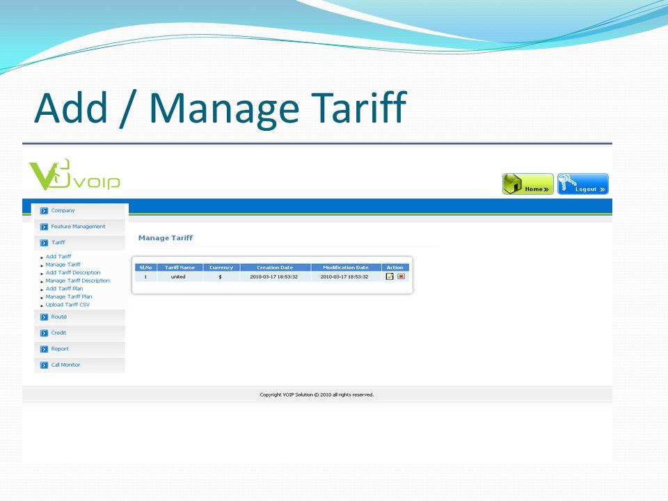Add / Manage Tariff