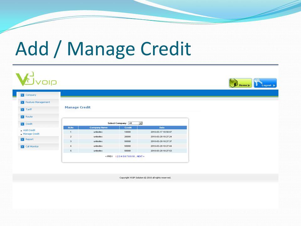 Add / Manage Credit