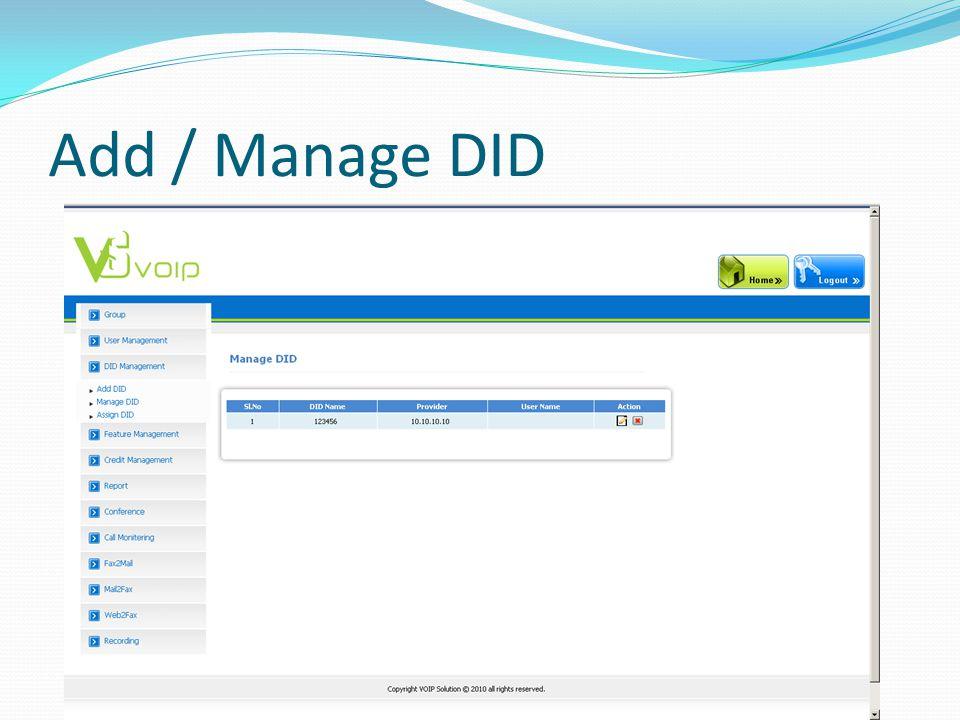 Add / Manage DID