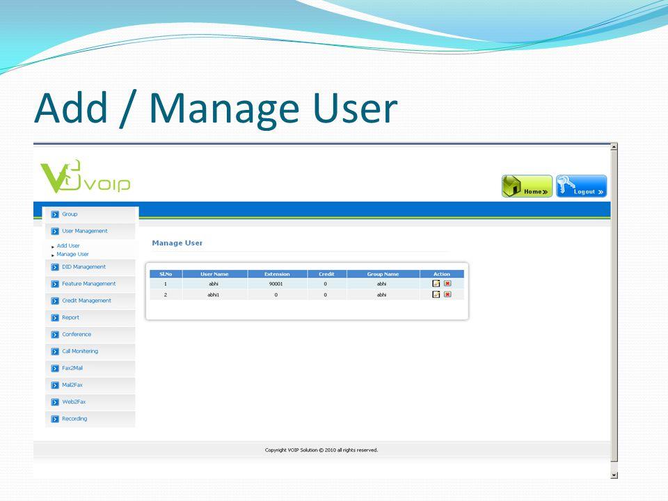 Add / Manage User