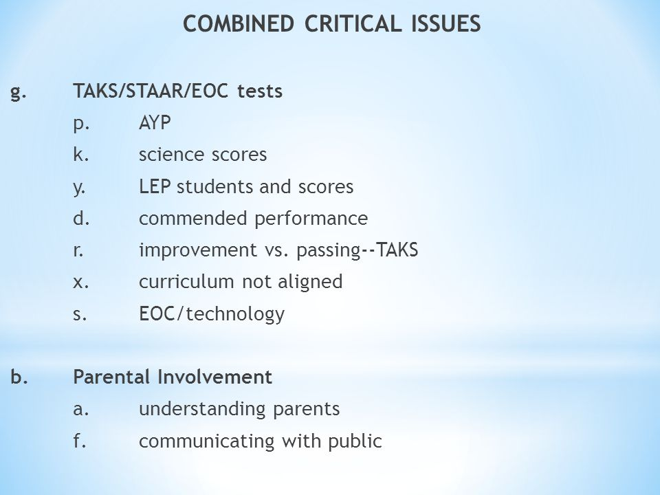 COMBINED CRITICAL ISSUES g.TAKS/STAAR/EOC tests p.AYP k.science scores y.LEP students and scores d.commended performance r.improvement vs. passing--TA