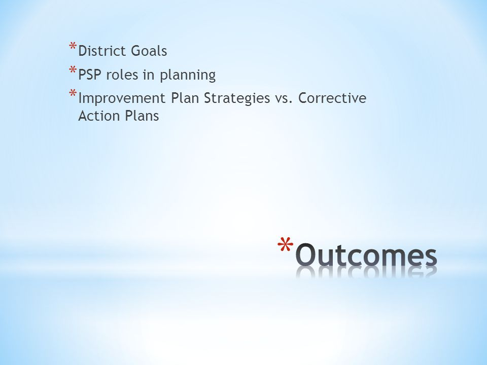 * District Goals * PSP roles in planning * Improvement Plan Strategies vs. Corrective Action Plans