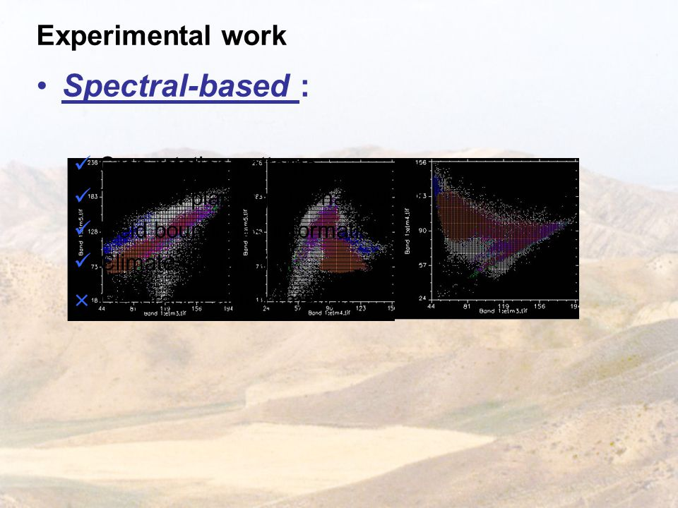 Experimental work Spectral-based : Crop rotation patterns Times of planting and harvesting Field boundaries information Climate information × Geographical information