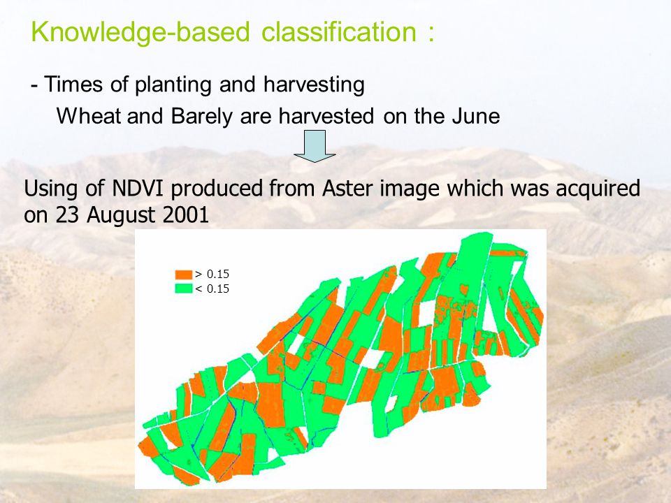Knowledge-based classification : - Times of planting and harvesting Wheat and Barely are harvested on the June Using of NDVI produced from Aster image which was acquired on 23 August 2001 > 0.15 < 0.15