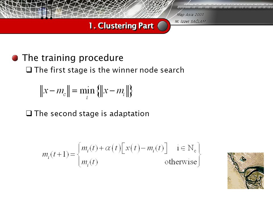 Map Asia 2003 M. İzzet SAĞLAM 1. Clustering Part The training procedure  The first stage is the winner node search  The second stage is adaptation