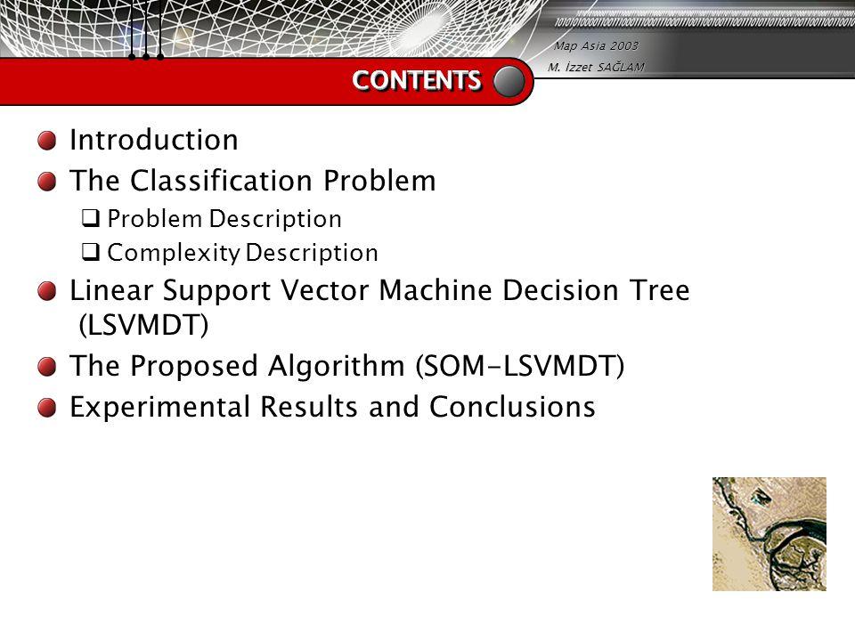 Map Asia 2003 M. İzzet SAĞLAM CONTENTSCONTENTS Introduction The Classification Problem  Problem Description  Complexity Description Linear Support V
