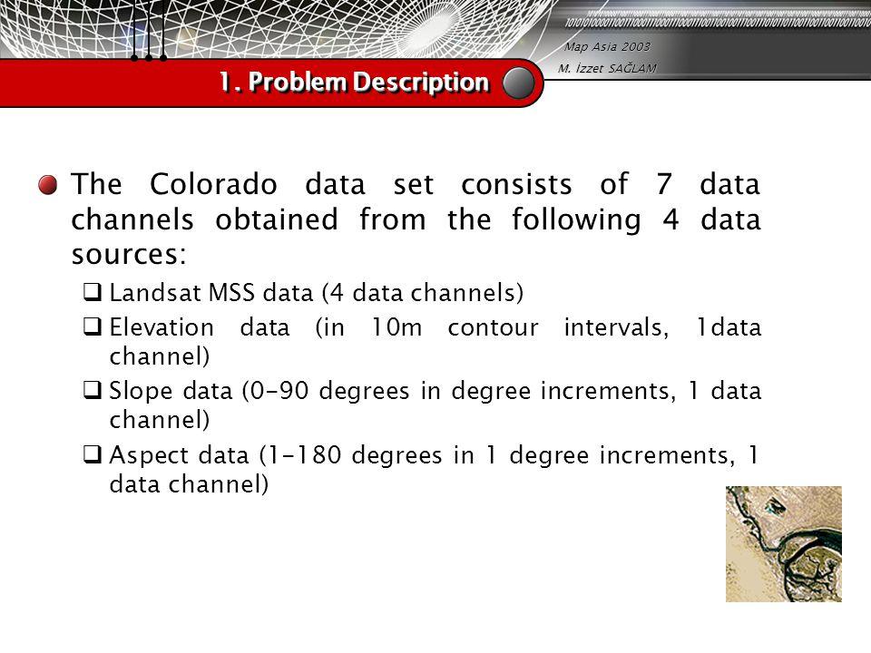 Map Asia 2003 M. İzzet SAĞLAM 1. Problem Description The Colorado data set consists of 7 data channels obtained from the following 4 data sources:  L