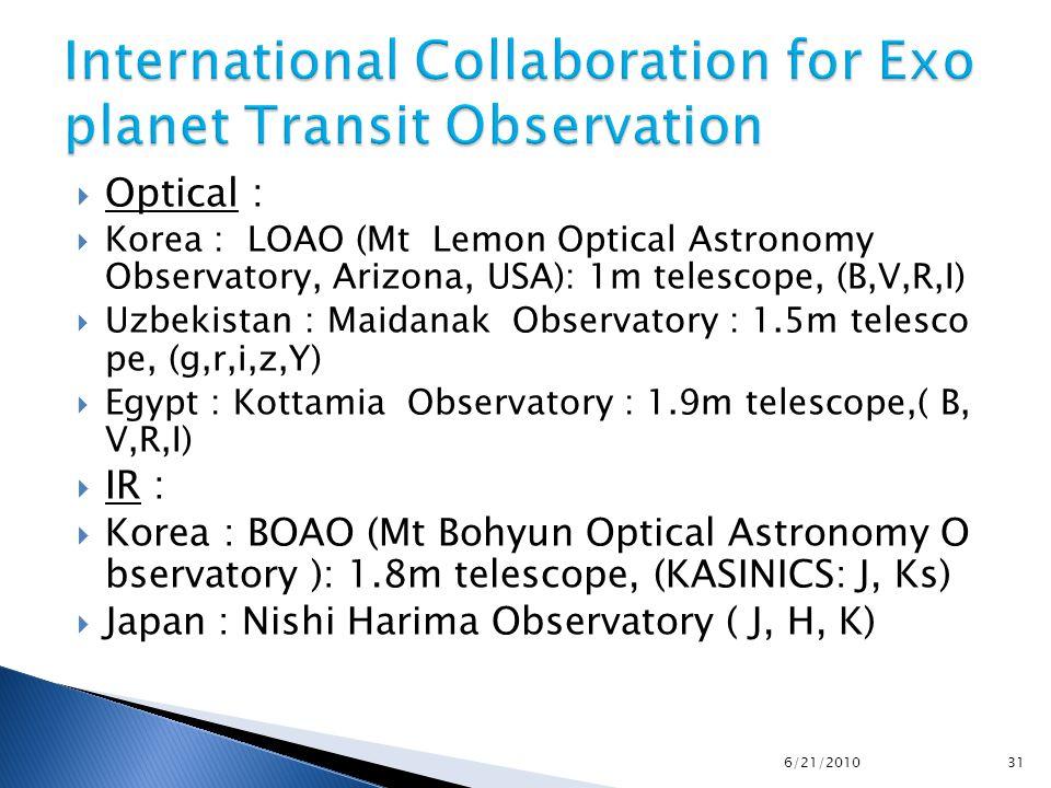  Optical :  Korea : LOAO (Mt Lemon Optical Astronomy Observatory, Arizona, USA): 1m telescope, (B,V,R,I)  Uzbekistan : Maidanak Observatory : 1.5m telesco pe, (g,r,i,z,Y)  Egypt : Kottamia Observatory : 1.9m telescope,( B, V,R,I)  IR :  Korea : BOAO (Mt Bohyun Optical Astronomy O bservatory ): 1.8m telescope, (KASINICS: J, Ks)  Japan : Nishi Harima Observatory ( J, H, K) 6/21/2010 31