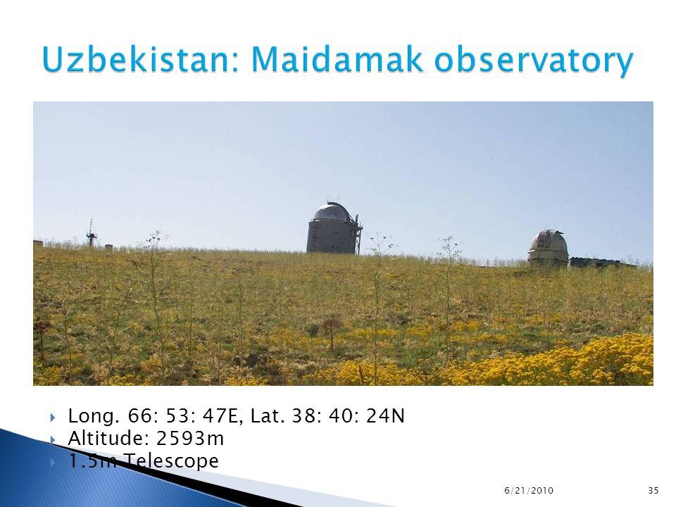  Long. 66: 53: 47E, Lat. 38: 40: 24N  Altitude: 2593m  1.5m Telescope 6/21/2010 35