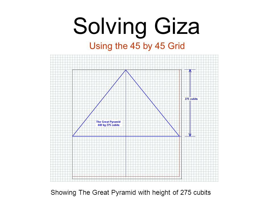 Solving Giza Using the 45 by 45 Grid Showing The Great Pyramid with height of 275 cubits