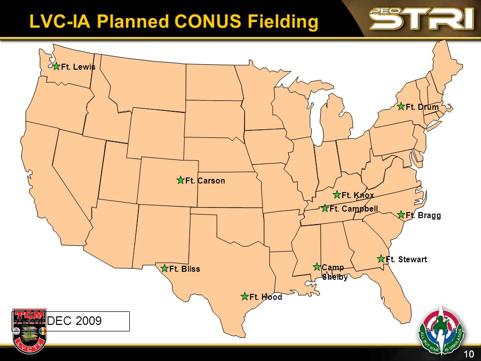 10 LVC-IA Planned CONUS Fielding Ft. Hood Ft. Bliss Camp Shelby Ft. Stewart Ft. Bragg Ft. Campbell Ft. Knox Ft. Drum Ft. Carson Ft. Lewis As of DEC 20