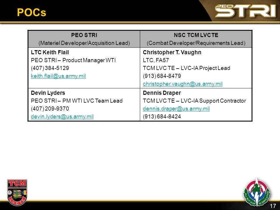 17 POCs PEO STRI (Materiel Developer/Acquisition Lead) NSC TCM LVCTE (Combat Developer/Requirements Lead) LTC Keith Flail PEO STRI – Product Manager W