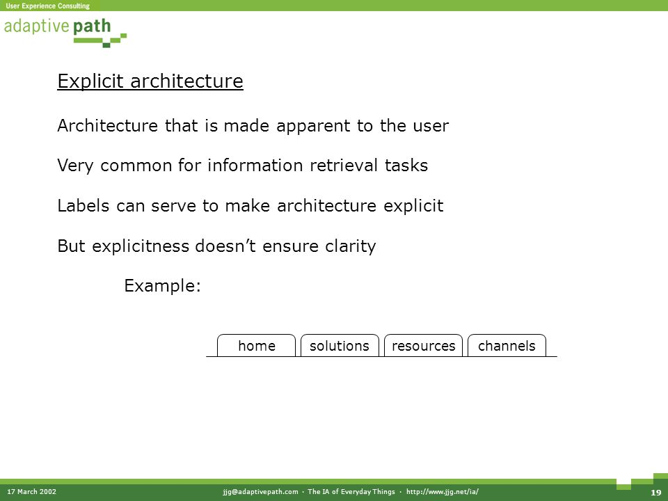 17 March 2002jjg@adaptivepath.com · The IA of Everyday Things · http://www.jjg.net/ia/ 19 Explicit architecture Architecture that is made apparent to the user Very common for information retrieval tasks Labels can serve to make architecture explicit But explicitness doesn't ensure clarity Example: homesolutionsresourceschannels
