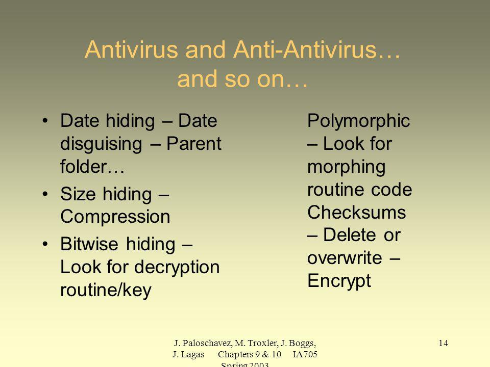 J. Paloschavez, M. Troxler, J. Boggs, J. Lagas Chapters 9 & 10 IA705 Spring 2003 14 Antivirus and Anti-Antivirus… and so on… Date hiding – Date disgui