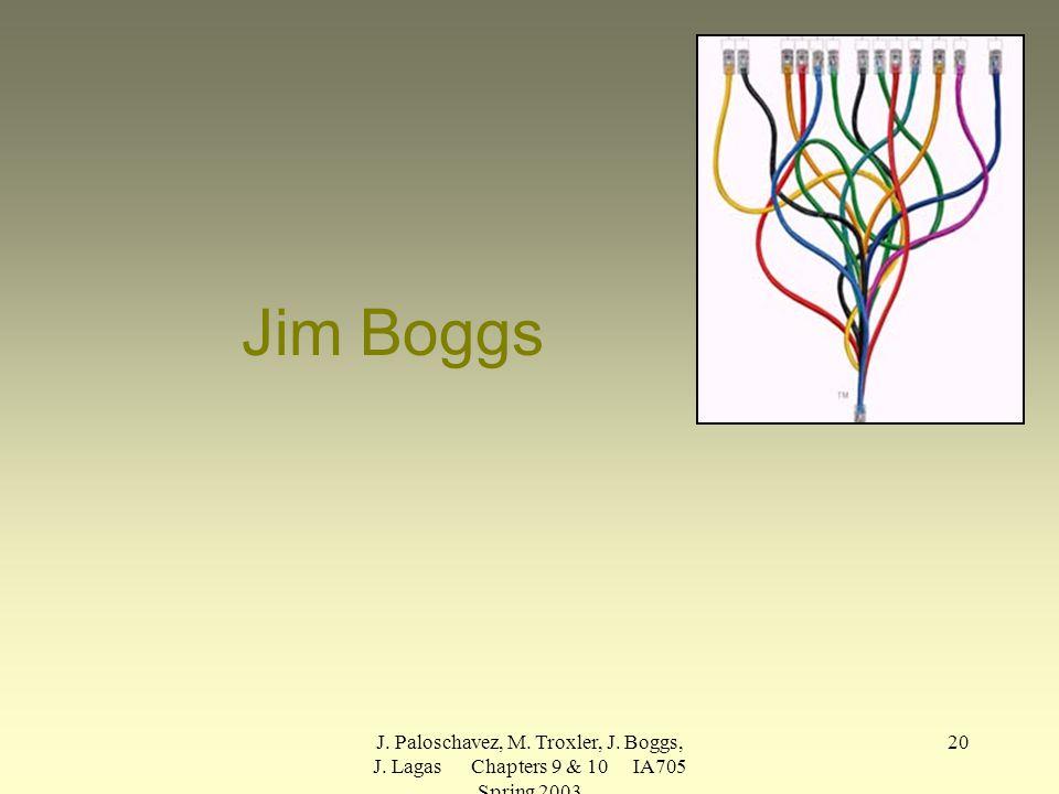 J. Paloschavez, M. Troxler, J. Boggs, J. Lagas Chapters 9 & 10 IA705 Spring 2003 20 Jim Boggs