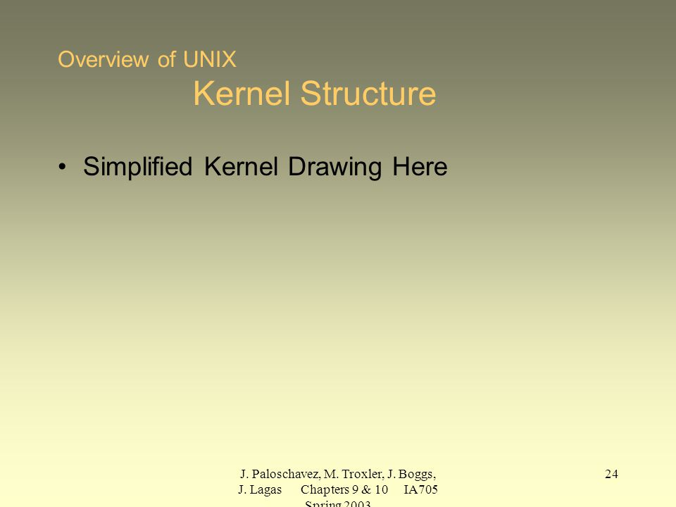 J. Paloschavez, M. Troxler, J. Boggs, J. Lagas Chapters 9 & 10 IA705 Spring 2003 24 Overview of UNIX Kernel Structure Simplified Kernel Drawing Here