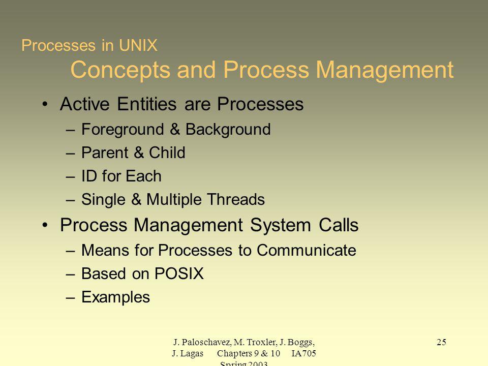 J. Paloschavez, M. Troxler, J. Boggs, J. Lagas Chapters 9 & 10 IA705 Spring 2003 25 Processes in UNIX Concepts and Process Management Active Entities