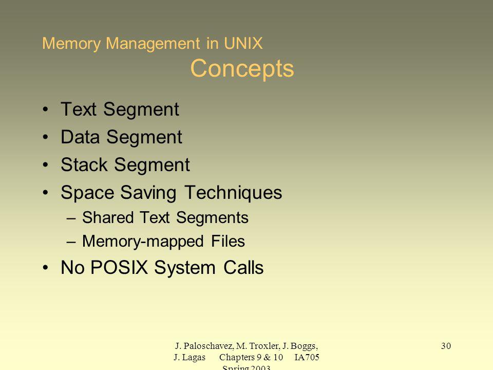 J. Paloschavez, M. Troxler, J. Boggs, J. Lagas Chapters 9 & 10 IA705 Spring 2003 30 Memory Management in UNIX Concepts Text Segment Data Segment Stack
