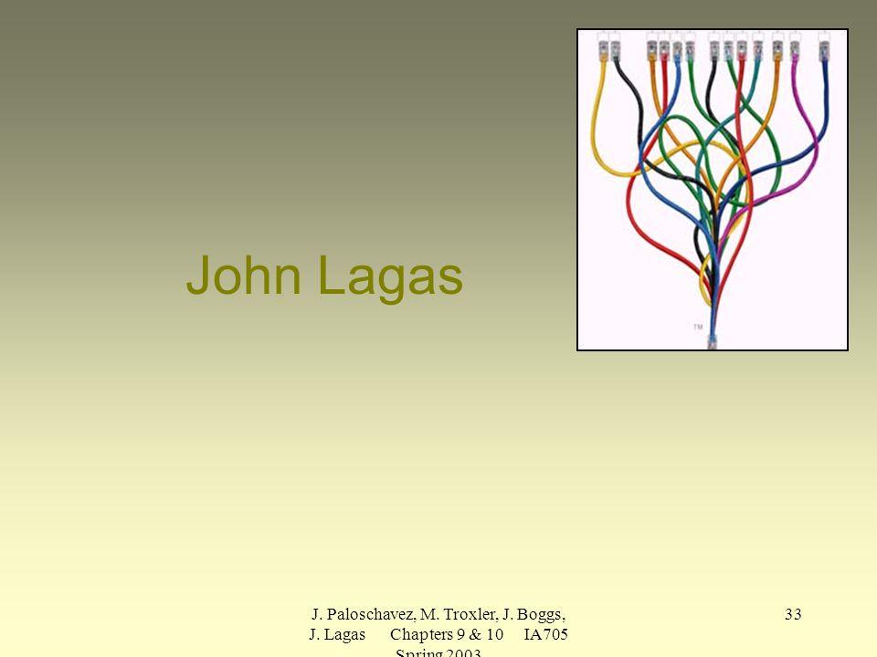 J. Paloschavez, M. Troxler, J. Boggs, J. Lagas Chapters 9 & 10 IA705 Spring 2003 33 John Lagas
