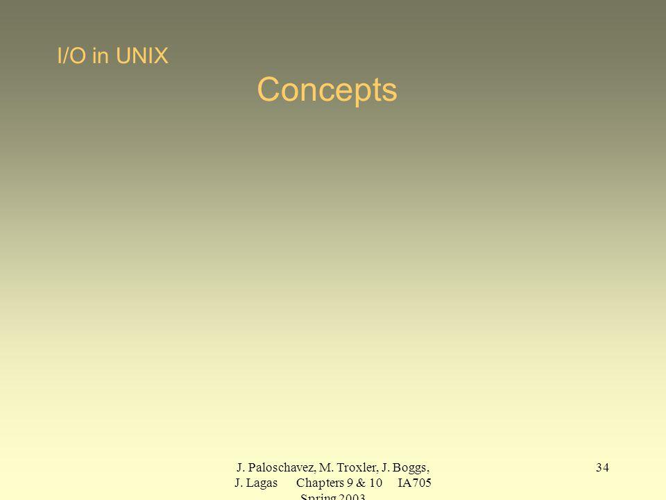 J. Paloschavez, M. Troxler, J. Boggs, J. Lagas Chapters 9 & 10 IA705 Spring 2003 34 I/O in UNIX Concepts