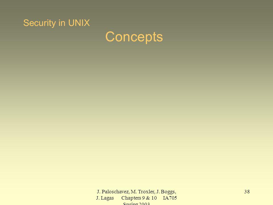 J. Paloschavez, M. Troxler, J. Boggs, J. Lagas Chapters 9 & 10 IA705 Spring 2003 38 Security in UNIX Concepts