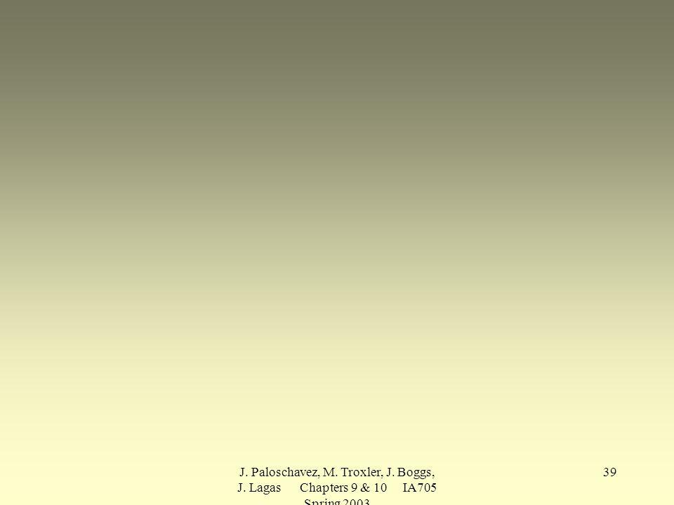 J. Paloschavez, M. Troxler, J. Boggs, J. Lagas Chapters 9 & 10 IA705 Spring 2003 39