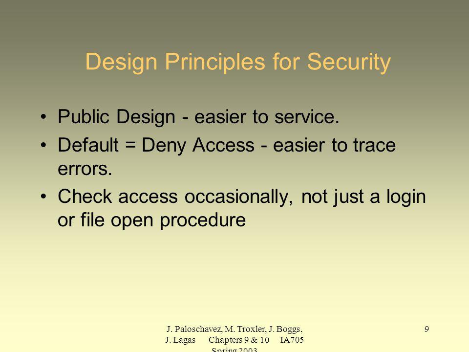 J. Paloschavez, M. Troxler, J. Boggs, J. Lagas Chapters 9 & 10 IA705 Spring 2003 9 Design Principles for Security Public Design - easier to service. D