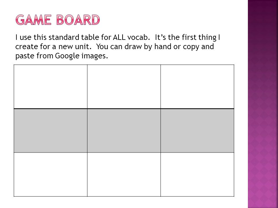 I use this standard table for ALL vocab. It's the first thing I create for a new unit. You can draw by hand or copy and paste from Google images.