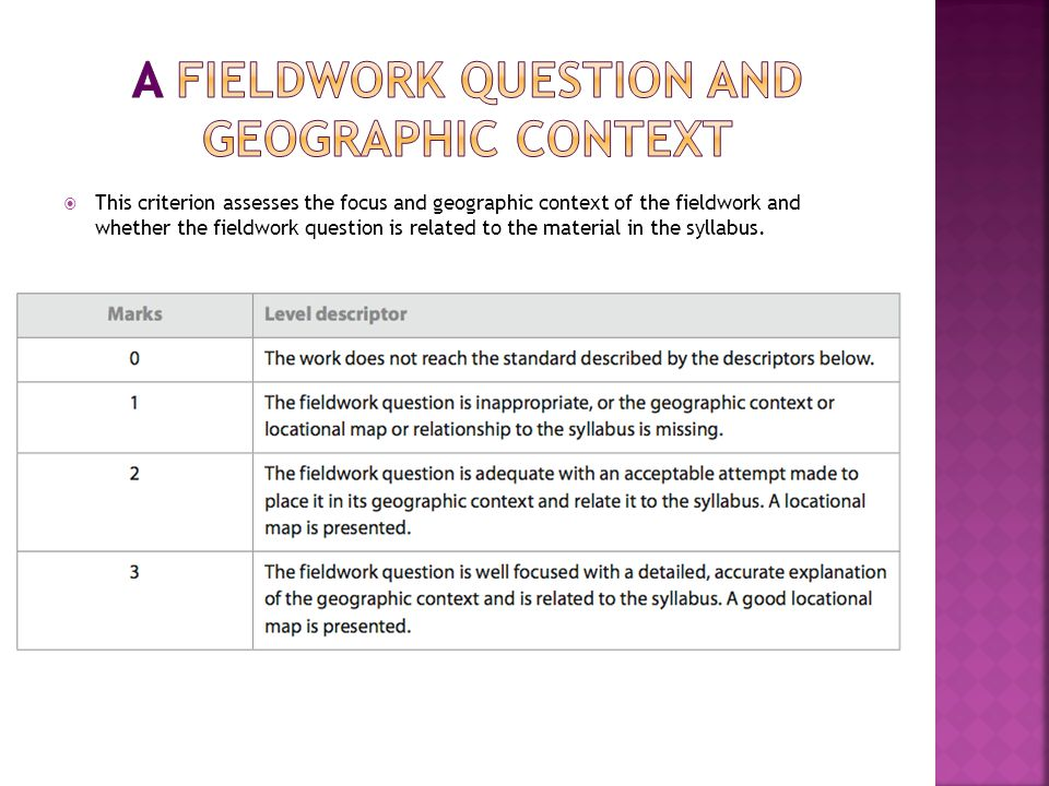  This criterion assesses the focus and geographic context of the fieldwork and whether the fieldwork question is related to the material in the syllabus.